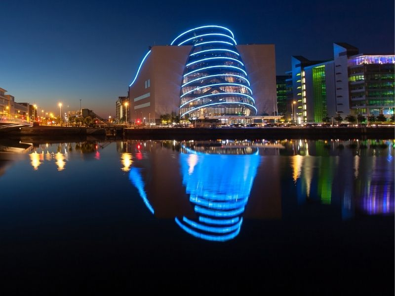 Image of lighting control system at night provided to the conference centre dublin